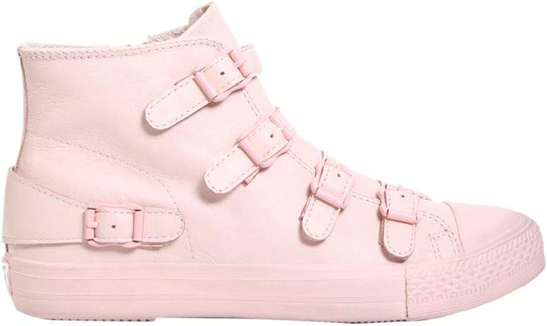 Ash Women's VENUS04NAPPAPOWDER Pink Leather Hi Top Sneakers