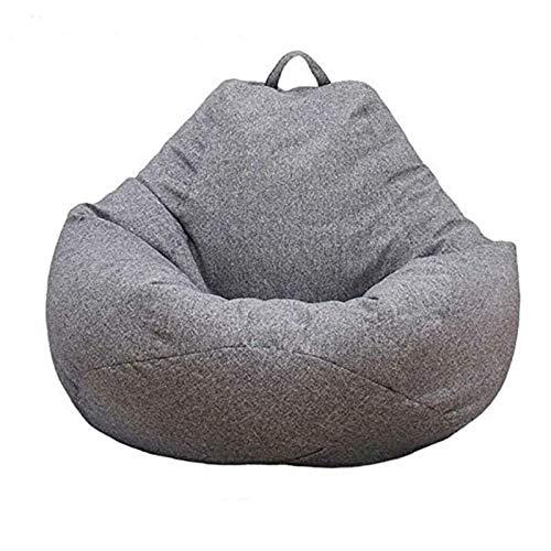 Sitzsack Bezug, Lazy Lounger Sitzsack Stuhlbezüge Bequeme Sitzbezüge für Erwachsene Kinder Snugly Gamer Stuhl Sitzsack ohne Filter, Grau L (90*110CM)