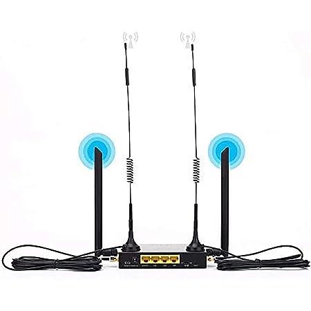 KuWFi 4G LTE Router inalámbrico WiFi para automóvil 300Mbps Cat 4 CPE Industrial de Alta Velocidad con Ranura para Tarjeta SIM y 4 Piezas Antenas ...