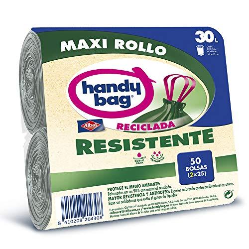 Handy Bag Maxi Rollo Plástico Basura 30L, 90% Reciclado, Ex