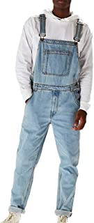 huateng Men's Fashion Vintage Jeans Jumpsuits Bib Overalls Dungarees Classic Jeans Jumpsuits