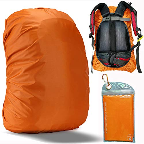 Evotopf Waterproof Backpack Rain Cover with Adjustable Anti Slip Buckle Strap & Sliver Coating Reinforced Inner Layer for Camping, Hiking, Traveling, Hunting, Biking and More, 15-25L(Orange)