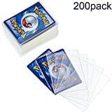Chuangdi 200 Pieces Clear Deck Sleeves,Standard Size Board Game Card Sleeves, Card Protectors Compatible with Magic The Gathering MTG, Pokemon (66 by 91 mm)