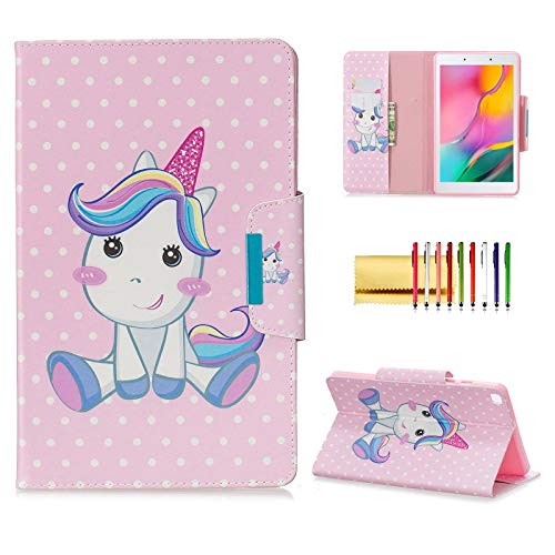 Case for Samsung Galaxy Tab A 8.0 2019 (SM-T290/T295), Techcircle Slim Folding Cute Pattern View Stand Flip Protective Cover with Card Slots Pocket Holder for Tab A 8.0 T290/T295, My Pony