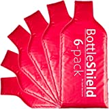 6 Pack Reusable Wine Protector Travel Bag by Bottle Shield - Unbreakable Bottle Sleeve, Leak Proof & Double Layer Bubble Cushioning Wrap Suit | Wine Bags Gift Accessory for Suitcase Luggage