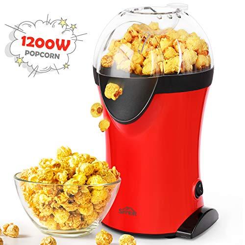 SIMBR Macchina Popcorn, ad Aria Calda Macchina per Popocorn Compatta Automatica, Senza Olio e Grassi, Operazione con Un Pulsante, 1200W(rosso)