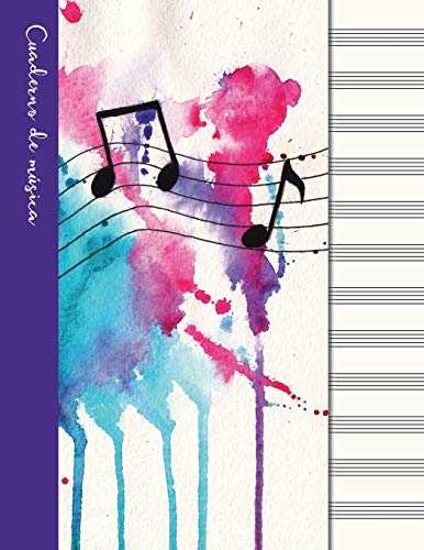 Cuaderno de música: Cuaderno de pentagramas - Cubierta morada (Cuadernos de música)