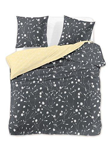 DecoKing Bettwäsche 200x220 2 Kissenbezüge 70x90 grau Blumenmuster Bettbezüge Renforcé Baumwolle Mako-Satin Baumwollsatin zweiseitig Stahl anthrazit weiß gelb