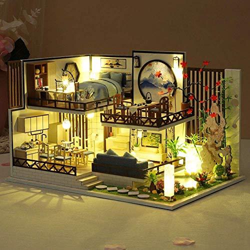 Häuser für Minipuppen DIY Puppenhaus im chinesischen Stil Duplex Loft Moxiang Bambus Reim Miniaturhaus Modell Holzspielzeughaus Kreativzimmer Bastelgeschenk für Familie und Freunde (Keine Staubschutz