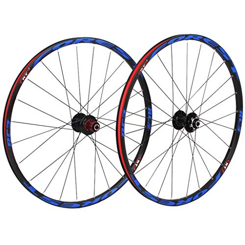Mountain Bike Wheelset 26 Inch, Double Wall MTB Bike Rim Cycling Hub 5 Palin Hybrid Quick Release 24 Hole 8/9/10 Speed (Color : F, Size : 27.5 inch)