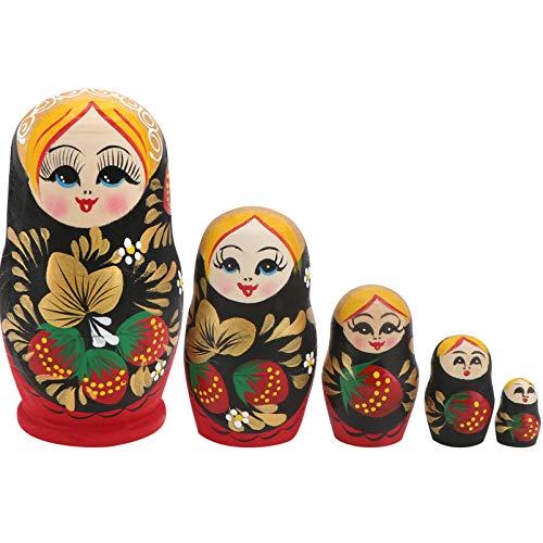 Tomaibaby 5 Stücke Holz Matroschka Puppen Figuren Valentinstag Deko Objekt Matrjoschka Dekofigur Matryoshka Russische Holzfiguren Spielzeug Silvester Tischdeko für Hochzeit Geschenke