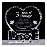 YWHL 3 Year 3rd Wedding Anniversary Crystal Paperweight Sculpture Keepsake Gifts for Her Wife Girlfriend Him Husband (3 Year)