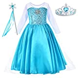 Party Chili Princess Costume for Girls Dress Up with Accessories Toddler Little Girls 2t 3T 2-3 Years (100cm) Sky Blue