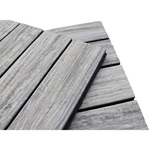 Top-Multi WPC Holz Fliese profiliert 30x30cm grau Musterfliese - 1 Stk.