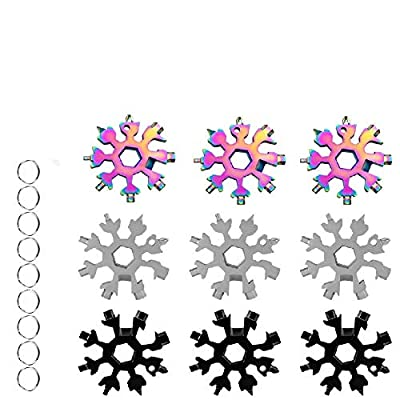 18-in-1 Snowflake Multi-Tool,Stainless Steel Multitool Card Combination Compact Portable Outdoor Products Snowflake Tool Card 9Pack Silver+Black +Colorful