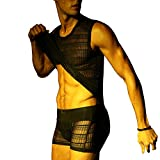 Male Mesh Briefs and Sports Sexy Underwear Set, A326-black, Large
