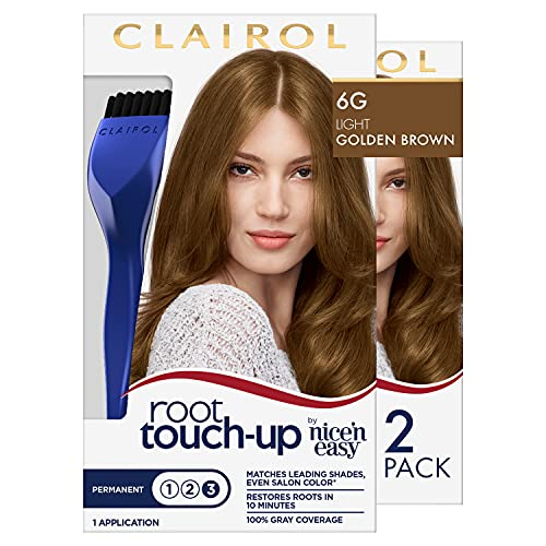 root touch ups Clairol Root Touch-Up by Nice'n Easy Permanent Hair Dye, 6G Light Golden Brown Hair Color, 2 Count