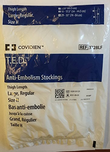 Kendall TED Thigh Length, Size H, Large Regular, Open Toe, White, 1 Set T.E.D