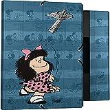 Mafalda 82402637. Carpeta 3 Solapas, Cartón Forrado, Tapa Dura, Tamaño Folio, Colección Mafalda Avión, Certificado FSC
