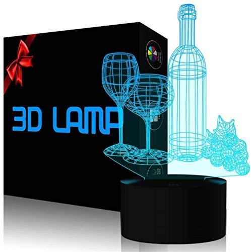 Luz de noche 3D para niños, botella de la taza de vino 3D ilusión junto a la lámpara de mesa 16 colores cambiante automático interruptor táctil decoración de escritorio Lámparas regalo de cumpleaños