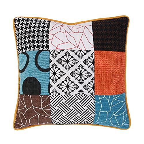 Home Deco Factory HD6499 Home Factory-HD6499-Cuscino Patchwork sfoderabile 40 x 40 cm Decoration Textile, Poliestere, Bianco/Nero/Arancione, Marrone, 39,5 x 8 x 37 cm