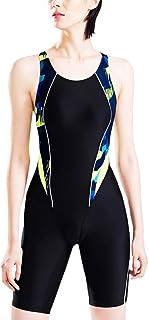 Foucome フィットネス水着 レディース 競泳水着 ワンピース 大きいサイズ 女性 レディース 練習用 スイムウェア 水泳 体型カバー スポーツ水着 オールインワン ブラック