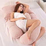 AEIL Almohada en forma de G para mujer embarazada, sueño lateral, extraíble, multifuncional, soporte de cintura silenciosa y cómoda, almohada larga ergonómica (cuadros rojos)