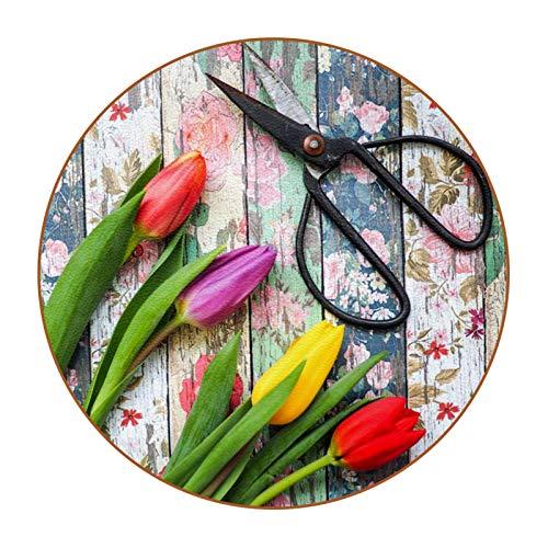 6 posavasos redondos de piel de microfibra para bebidas, estilo rústico, decoración del hogar, creatividad, para cocina, sala de estar, tijeras de flores de tulipán retro