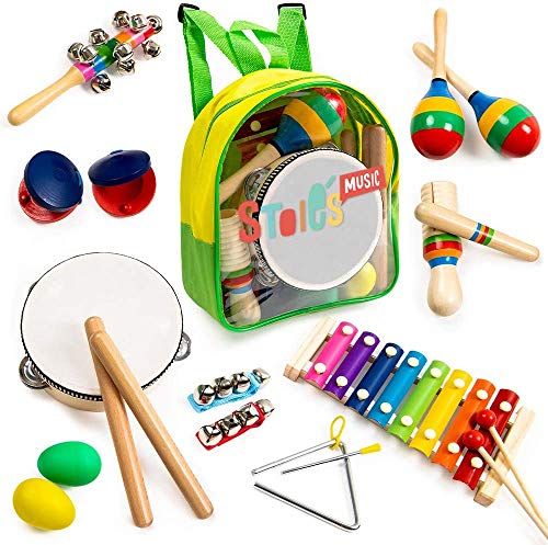 Stoie's 18 pcs Musical Instruments Set for Toddler and Preschool Kids Music Toy - Wooden Percussion...
