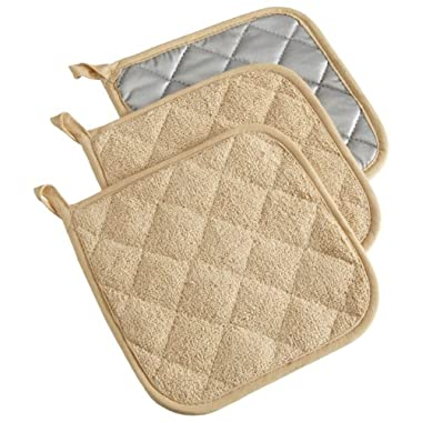 DII Cotton Terry Pot Holders, 7x7   Set of 3, Heat Resistant and Machine Washable Hot Pads for Kitchen Cooking and Baking-Pebble