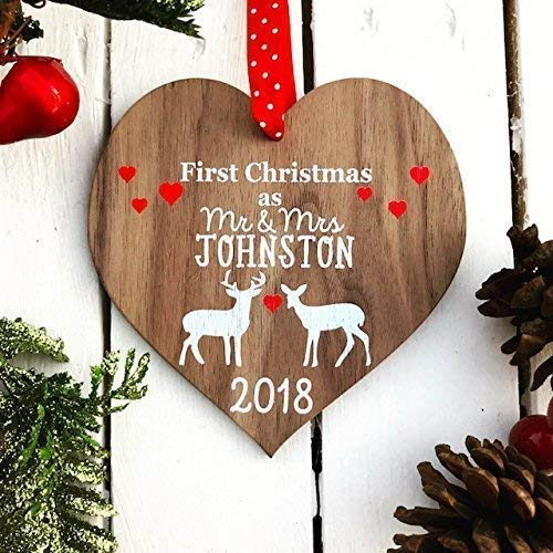 First Christmas as mr and mrs decoration bauble | personalised married wood tree for 1st wedding