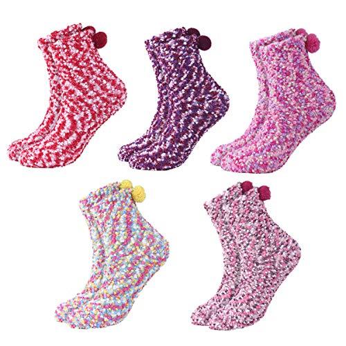 DEBAIJIA Mujer Calcetines 5 Pares Niñas Cupcakes Invierno Calientes Vellón de Coral Suaves Cómodos Coloridos