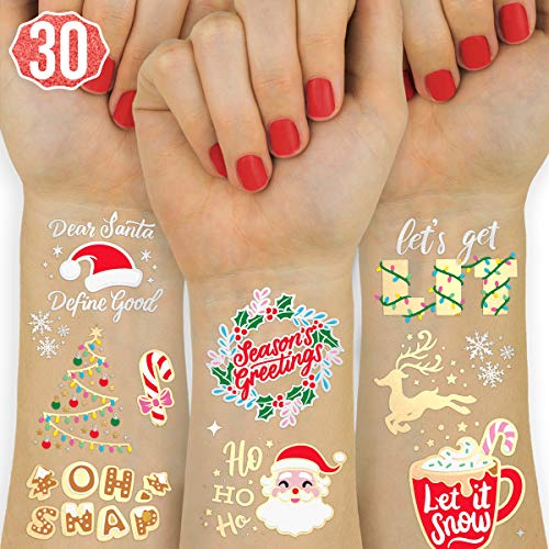 xo, Fetti Christmas Decorations Temporary Tattoos for Kids - 30 Glitter Styles | Merry Christmas Party Favors, Stocking Stuffer, Christmas Eve Gift, Xmas Tree + Lights, Santa, More