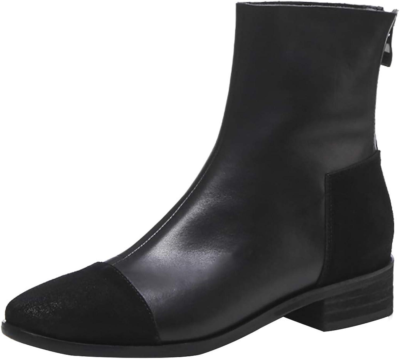 Jushee Womens Juamoun 3.5 cm Low-Heel Ankle Zipper Leather Boots