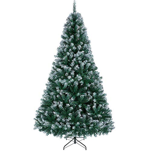 YAHEETECH 6ft Unlit Spray White Snow Dusted Hinged Artificial Christmas Spruce Tree with 1000 Branch Snow Tips and Metal Stand,White Xmas Tree for Holiday Decoration