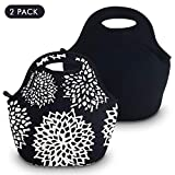 Lunch Tote Bag, Soft Neoprene Material Lunch Box Bag, Insulated Waterproof Picnic Lunch Bag Mom Bag for Women, Adults, Kids, Girls, and Teen Girls (Black+Dahlia)