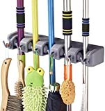 INOVERA (LABEL) 5 Slot Wall Mounted Mop and Broom Holder Stand Storage Organizer with 6 Hooks for Kitchen Garage Bathroom Tools Accessories - Grey