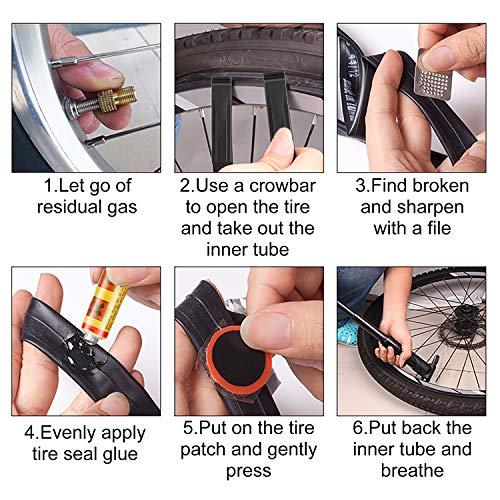 Homealexa Fahrradwerkzeug Praktisches Fahrrad Werkzeug- und Reparatur Set - Flickzeug mit 14-in-1 Multitool, Aufbewahrungstasche - Fahrradflickzeug - Reparaturset - Reifenflickzeug - 4