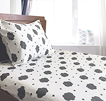 Crib/Toddler Bed Sheet and Pillowcase Set  Grey Clouds  100% Cotton by Dreamtown Kids