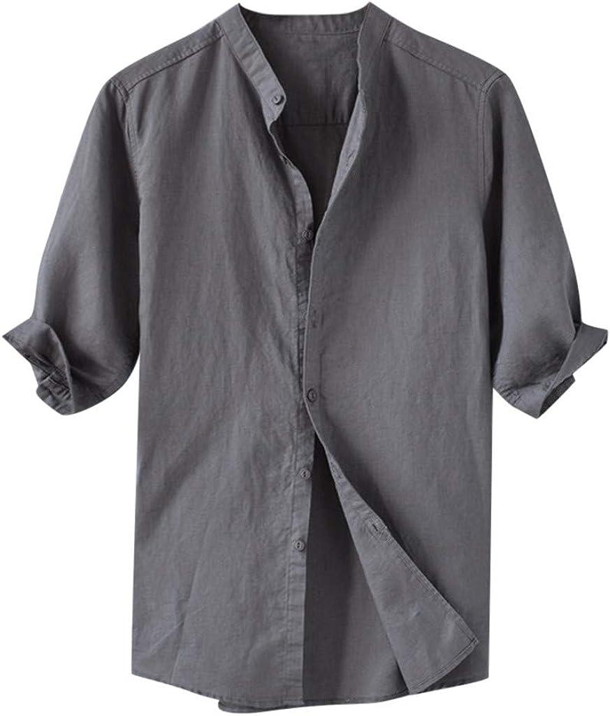 Gergeos Short Sleeve Shirt for Men - Summer Men's Breathable Cotton Linen Shirt Casual Stand Collar Button Shirts