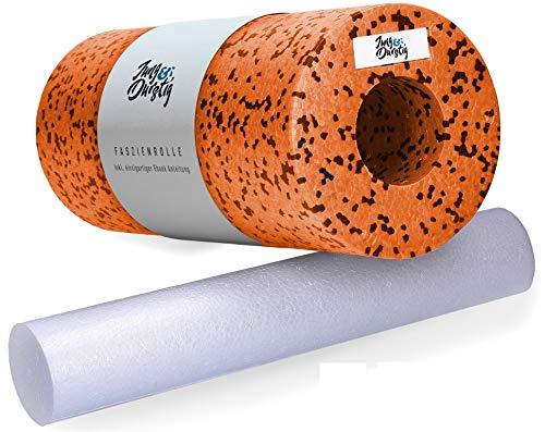 Jung & Durstig Original Faszienrollen Komplett Set | 2in1 Faszienrolle für Beine, Rücken und Wirbelsäule | Massagerolle inklusive Anwendungs E-Book zur Selbstmassage (2in1 Faszienrolle Orange)