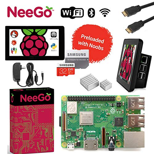 """NEEGO Raspberry Pi 3 B+ (B Plus) Ultimate Kit – Complete Set Includes Raspberry pi Motherboard, 7"""" Touchscreen Display, Power Supply, 32GB SD Card, 2 Heatsinks, Official Case & 6ft HDMI Cable"""