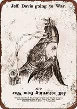TTDECK 1861 Jefferson Davis Flip Over Cartoon Vintage Look Reproduction Metal Tin Sign 8 x 12 Inches Vintage Aluminum Retro Metal Sign