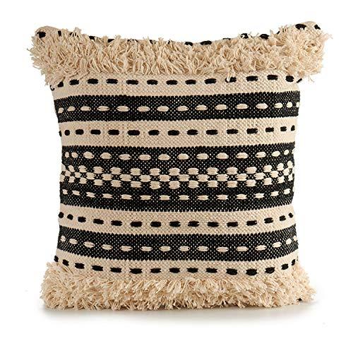 TU TENDENCIA UNICA Cojín Decorativo de Punto Beige con Motivos de algodón en Beige y Negro. Medidas: 45x15x45 cm