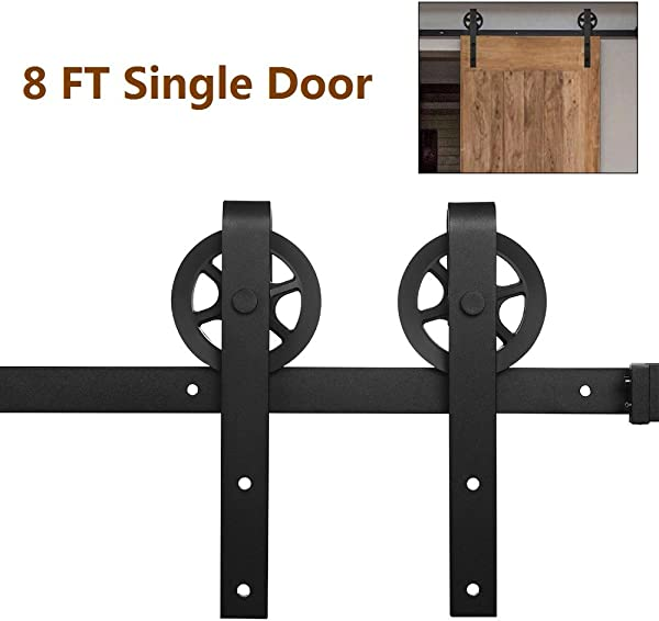 8ft Heavy Duty Sturdy Sliding Barn Door Hardware Kit Sturdy Single Door Track Kit Steel Big Wheel Industrial