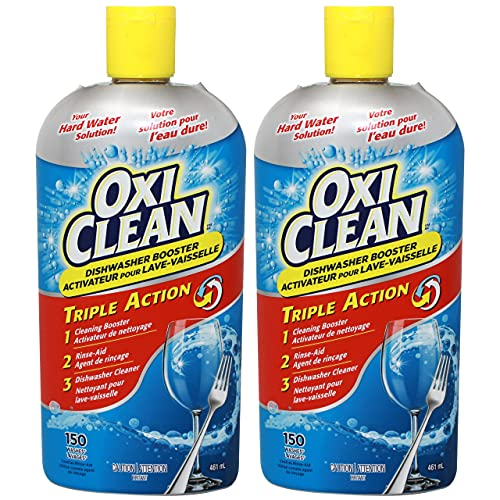 OxiClean Triple Action Booster Dishwasher Rinse-Aid for Clear Glasses and Dishes, 15.5 FL OZ - Pack of 2