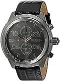 Diesel Men's DZ4437 Padlock Gunmetal IP and Black Leather Watch