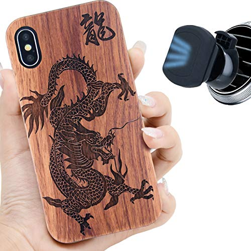 iProductsUS Dark Wood Phone Case Compatible with iPhone Xs MAX and Magnetic Mount, Engrave Dragon, Compatible Wireless Charging, Built-in Metal Plate, TPU Protective Cover (6.5 inch)