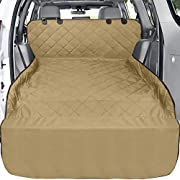 F-color Pet Cargo Cover, Waterproof Dog Seat Cover Mat for SUVs Sedans Vans with Bumper Flap Protector, Non-Slip, Large Size Universal Fit, Khaki