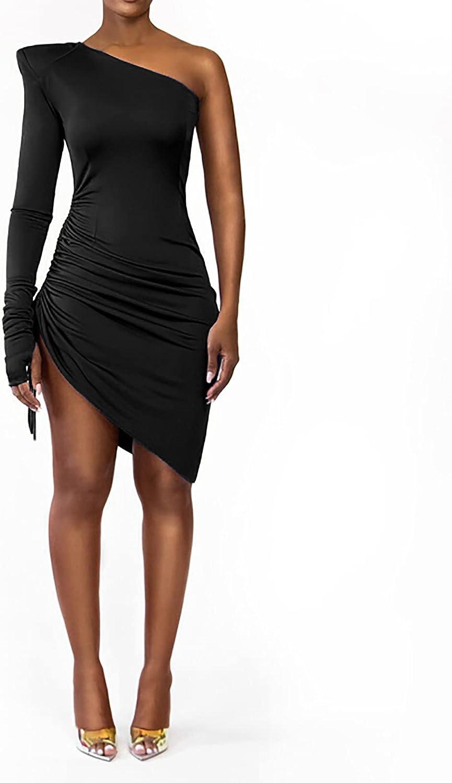 Women's Sexy Dresses for Club Night Casual Solid Color Oblique Shoulder Shoulder Pads Bandage Dress Mini Dress